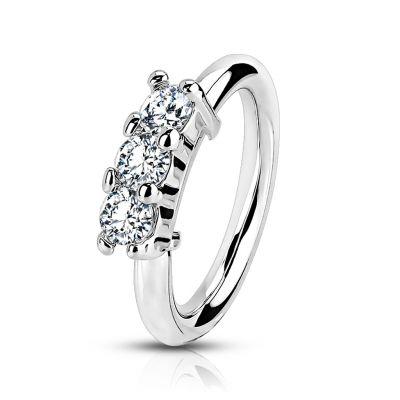 Pīrsinga gredzens ar kristālu rievu vienā pusē