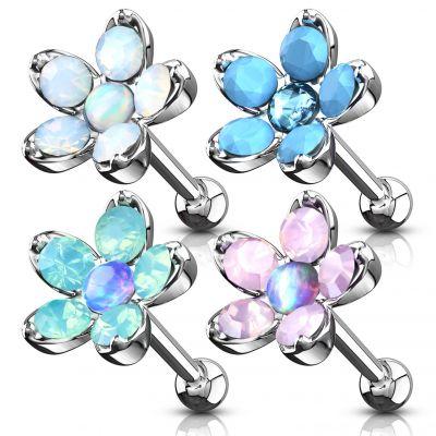 Auss pīrsings ar zieda kulonu veidotu no opalītiem un opāla